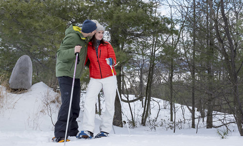 snowshoeing activities at the Peaks