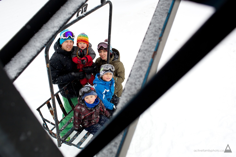 Active Family Photo  family winter sports at Calabogie Peaks Resort