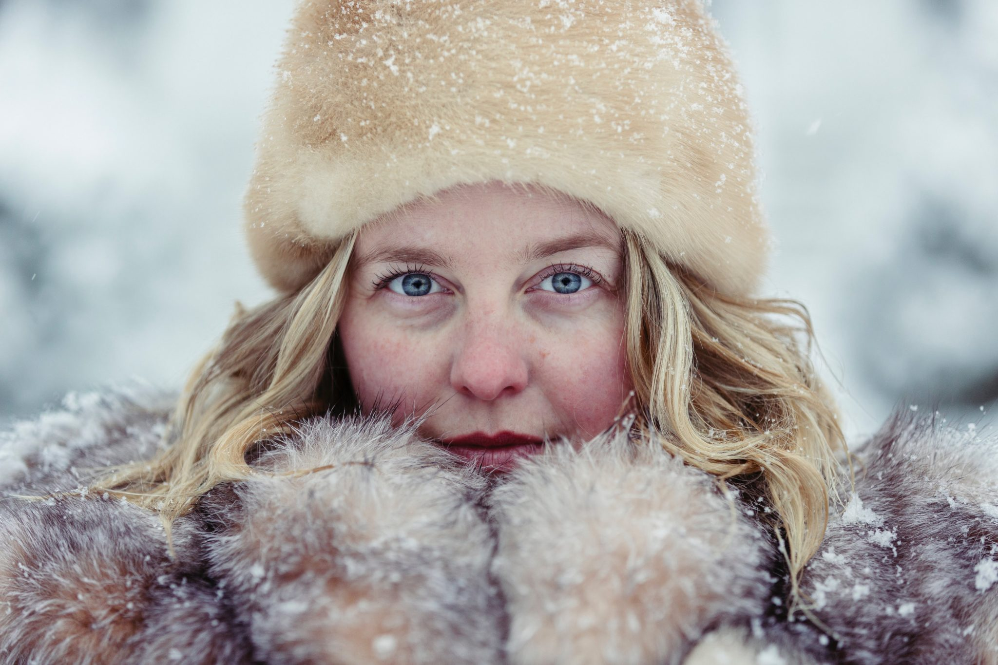 woman covered with snow